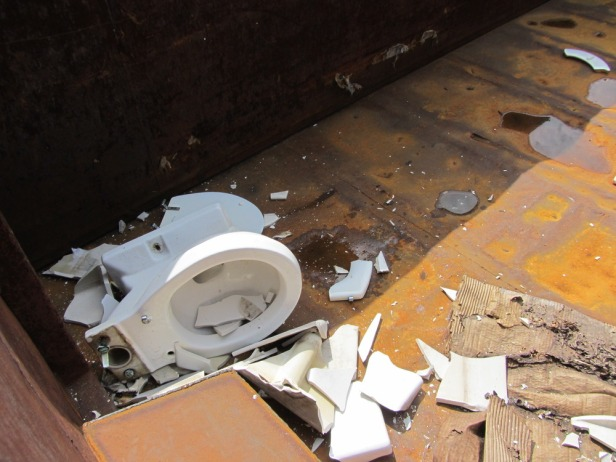 Old toilet ready for recycling