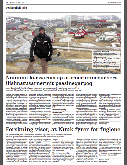 AG Greenland Post Article about Nuuk UHI Study
