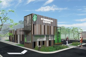 "Artist rendition of proposed ""recycled"" Starbucks in Overland Park, Kansas"