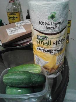 Derrick's cucumbers and recycled paper towels